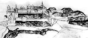 Північний бік Старого та Нового замків і Замкового мосту. Малюнок зі збірки Музею Війська Польського у Варшаві 1652-1672 рр. Фрагмент.