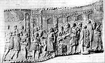 Траянова колона в Римі. Рельєф із зображенням мосту, атрибутованого як міст Аполлодора через Дунай.